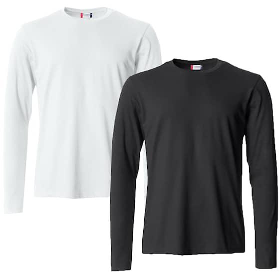 Clique Långärmad tröja Vit + Svart 2-pack Herr