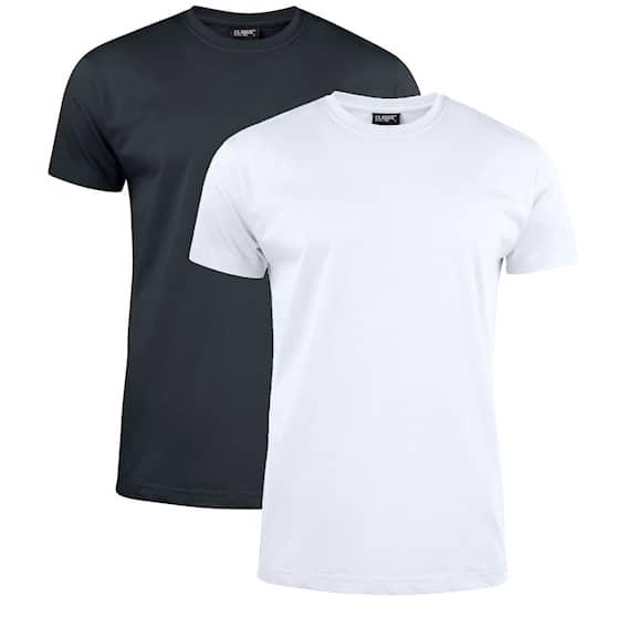 Clique T-shirt 2-pack svart/vit
