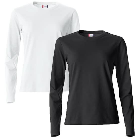 Clique Långärmad tröja Vit + Svart 2-pack Dam