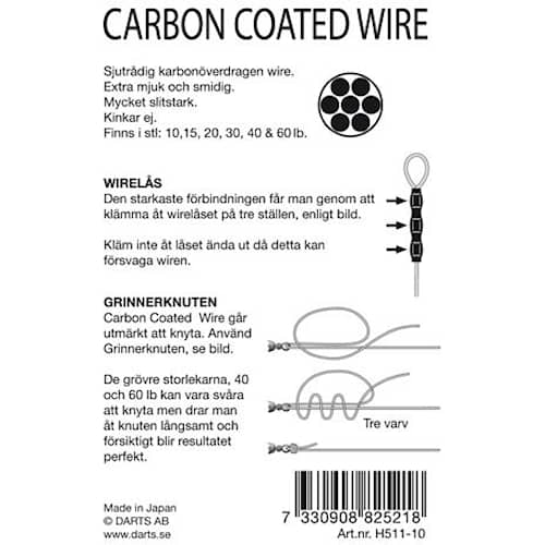 Darts Carbon Coated Wire 10 lb 10 m