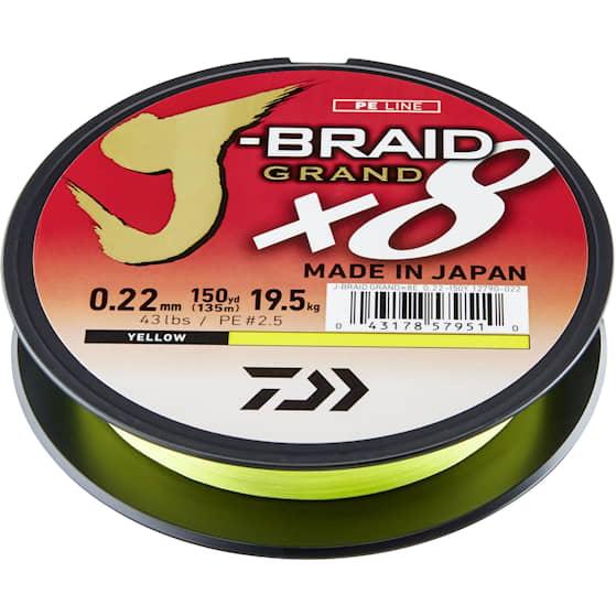 Daiwa J-Braid Grand X8 135 m Yellow Fiskelina